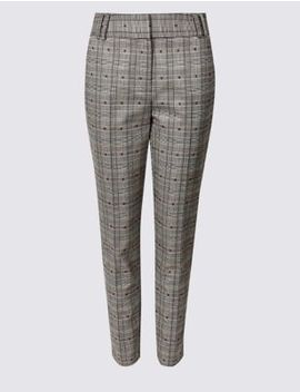 Cotton Blend Checked Trousers by Marks & Spencer