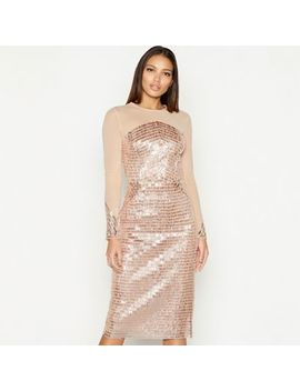 Star By Julien Macdonald   Natural Sequin Mesh Round Neck Long Sleeve Midi Pencil Dress by Star By Julien Macdonald