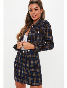 Blue Checked Cropped Denim Jacket by Missguided