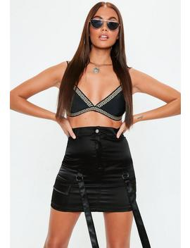 Black Satin Jungle Cargo Skirt by Missguided
