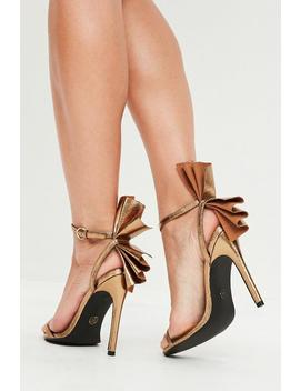 Gold Fan Detail Barely There Heels by Missguided