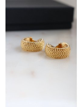 Vintage Monet Gold Rope Clip On Earrings   Small Hoop Earrings by Sus Vintage