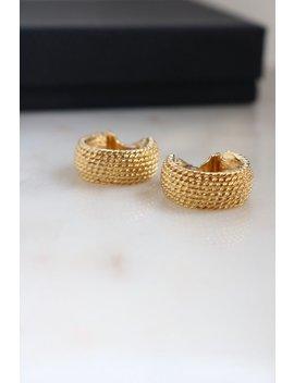 Vintage Monet Gold Rope Clip On Earrings   Small Hoop Earrings by Sus Vintage