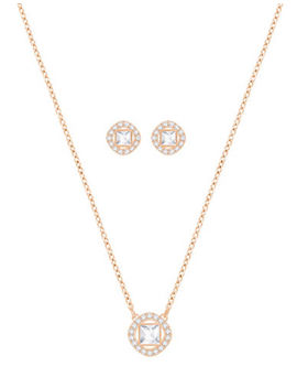 Crystal Angelic Square Necklace And Earrings Set by Swarovski
