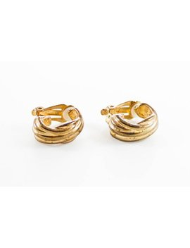 Vintage Gold Tone Hoop Clip On Earrings by Parmalade