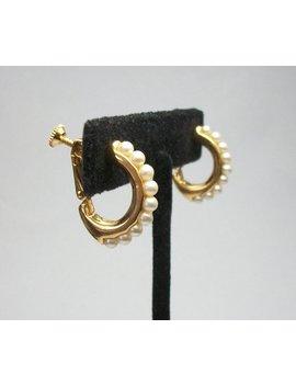 Napier Hoop Clip On Earrings Narrow Thin Gold Tone Faux Pearl Hoop Hinged Screw Back Designer Signed Wedding Bride Elegant Classic Screwback by Felt In My Heart