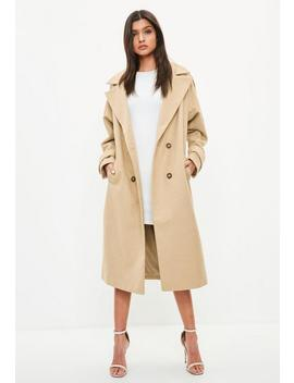 Manteau Croisé Long Camel by Missguided