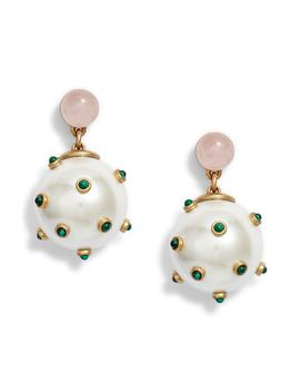 Stone Studded Drop Earrings by Tory Burch