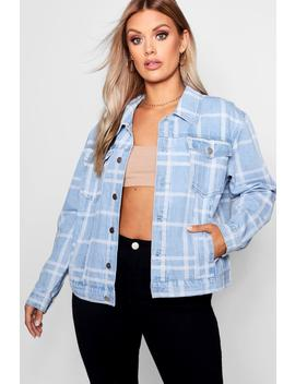 Plus Checked Effect Denim Jacket by Boohoo
