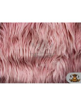 Faux Fake Fur Mongolian Fabric Sold By The Yard (Pink) by Fabric Empire