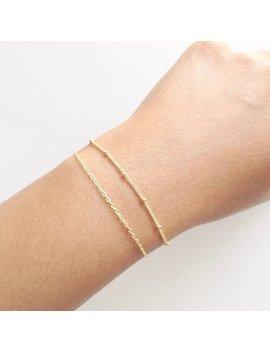 Delicate Chain Bracelet, Simple Chain Bracelet, Plain Chain Bracelet, Satellite Dainty Chain Bracelet, Minimal Thin Layering Bracelet by Ivolvebeauty