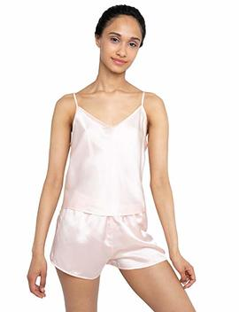 Myk 22 Momme Pure Mulberry Silk Camisole And Shorts Value Set For Women, Cami Tank Top With Adjustable Strap by Myk