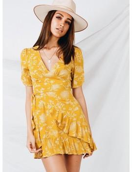 Midsummer Madness Mini Dress Mustard by Princess Polly