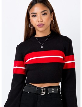 Serena Hyde Long Sleeve Crop Knit Black/Red by Princess Polly