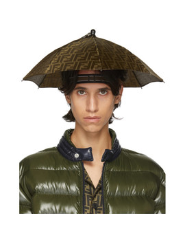 Tan & Brown 'forever Fendi' Umbrella Hat by Fendi