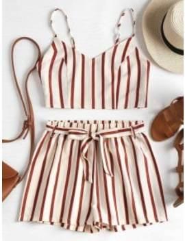 Striped Cami Belted Shorts Set   Cornsilk M by Zaful