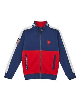 U.S. Polo Assn.   Boys' Navy And Red Colour Block Long Sleeve Sweatshirt by U.S. Polo Assn.