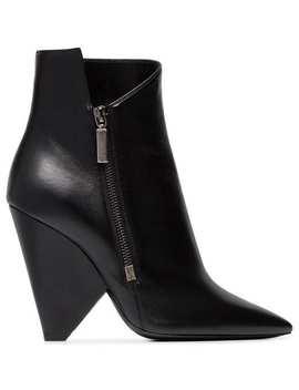 Saint Laurent Niki 105 Zipped Leather Ankle Boots by Saint Laurent