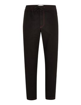 Black Contrast Stitch Woven Joggers by Topman