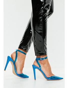 Blue Clear Ankle Strap Court Shoes by Missguided
