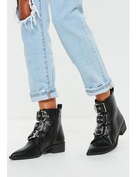 Black Three Buckle Pointed Biker Boots by Missguided