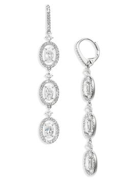 Oval Halo Drop Earrings by Nadri