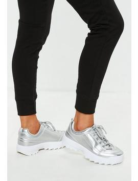 Silver Metallic Chunky Trainers by Missguided