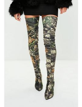 Khaki Leaf Printed Thigh High Pointed Shoes by Missguided