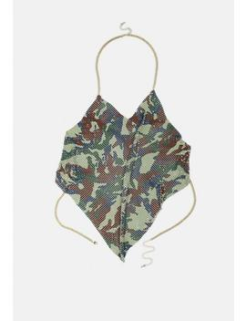 Green Camo Chainmail Top by Missguided