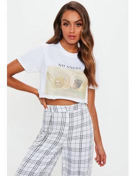 White No Angel Raw Hem Crop Tshirt by Missguided