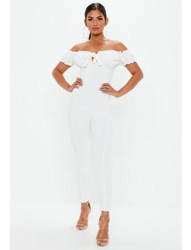 White Tie Front Bardot Jumpsuit by Missguided