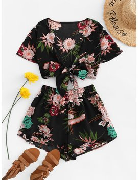 Floral Print Knot Front Two Piece Outfit by Romwe