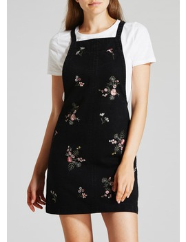 Floral Embroidered Denim Pinafore ? Black by Matalan