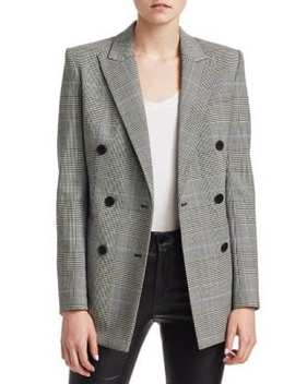 Double Breasted Check Blazer by Theory