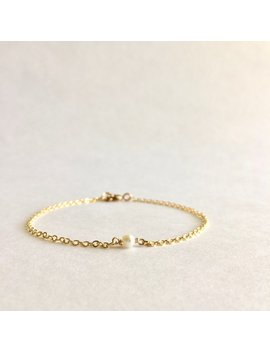 Thoughtful Jewelry Gift For Her, Tiny Pearl Bracelet, Simple Thank You Gift, Dainty Pearl Thin Layering Bracelet, Just Because Gift Under 30 by Ivolvebeauty