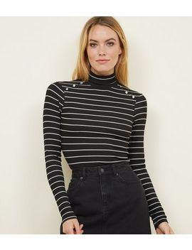 Black Glitter Stripe Roll Neck Top by New Look