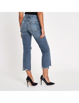 Denim Ripped Crop Flared Jeans by River Island