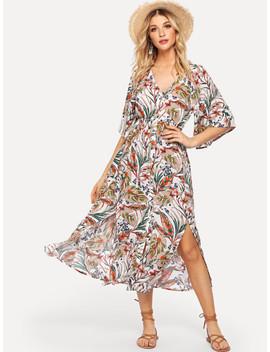 V Neck Tropical Print Dress by Shein