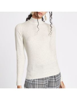 Cream Knit Turtle Neck Jumper by River Island