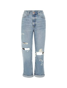 Mid Blue High Rise Mom Fit Ripped Jeans by River Island