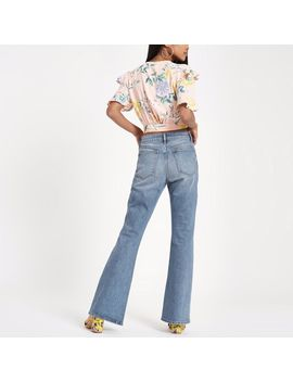 Petite Blue Wash Flared Jeans by River Island