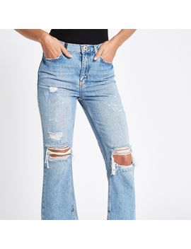 Blue Premium Crop Kickflare Ripped Jeans by River Island