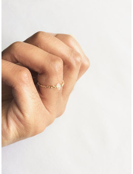 Thin Chain Ring, Herkimer Diamond Chain Ring, Dainty Boho Ring, Thin Delicate Ring, Minimalist Solitaire Ring, Dainty Minimalist Ring Gift by Ivolvebeauty