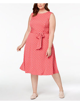 Plus Size Dot Print Midi Dress, Created For Macy's by Charter Club