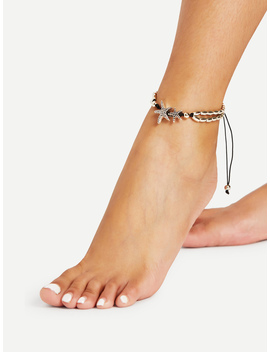 Starfish Detail Adjustable Anklet by Romwe