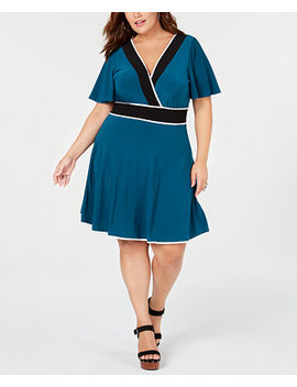 Trendy Plus Size Piped Faux Wrap Dress by Love Squared