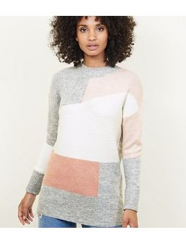 Pink Patchwork Knit Jumper by New Look