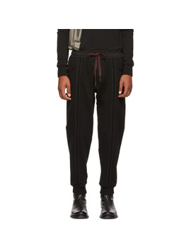 Black Vertical Stripe Lounge Pants by Ziggy Chen