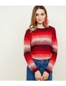 Red Space Dye Stripe Brushed Jumper by New Look