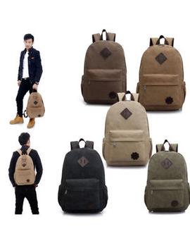 Bag Canvas Men's Vintage Backpack Rucksack Laptop Shoulder Travel Camping Bag by Unbrand